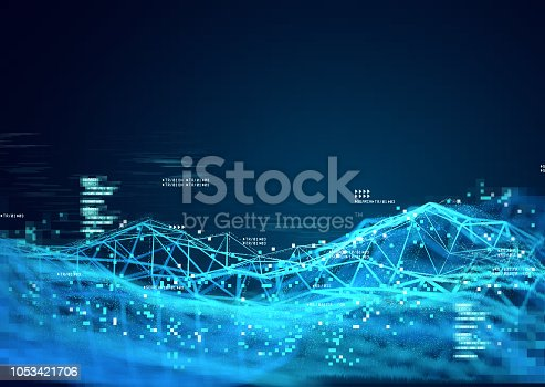 Data and 3D visualization of information tracking. 3D Illustration.