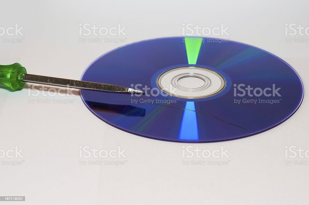 data loss from a scratched CD stock photo