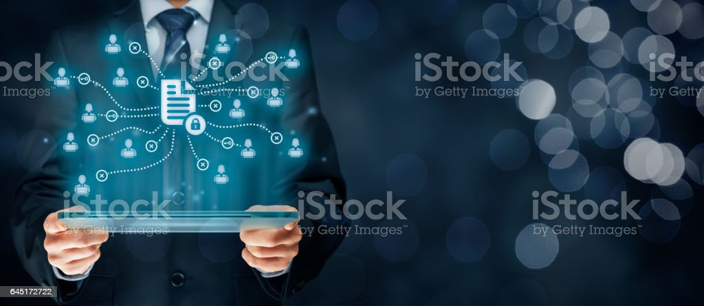 Data management and privacy stock photo