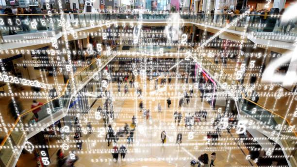 Datenmatrix, die ein Einkaufszentrum füllt. – Foto