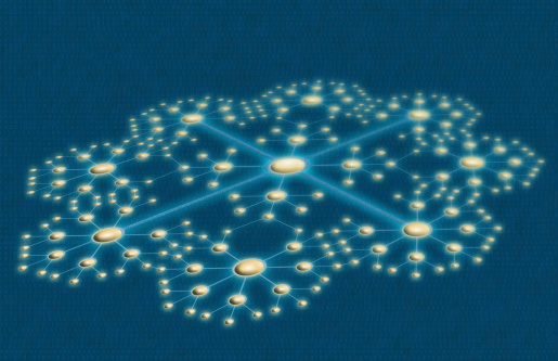 This is a home-made (created in Illustrator and Photoshop) depiction of a network with a modified star topology.