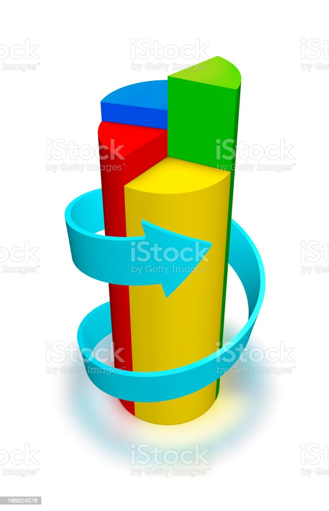 Data of growth and expansion chart stock photo