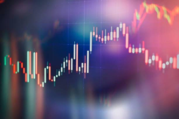 Pazar analiz dahil bir monitörde veri. Çubuk grafikler, diyagramlar, finansal rakamlar. Forex çizelgesi. stok fotoğrafı