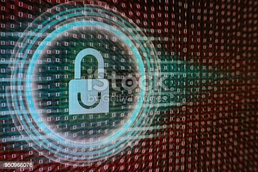 1001827816 istock photo Data privacy information security in social cyber age. Blue Padlock icon, circle light energy surrounding, on red binary code bit flowing movement in the background. 950966076