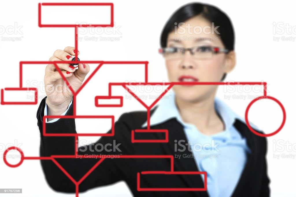 data processing engineer drawing a flowchart royalty-free stock photo