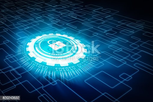 istock Data protection and insurance. Concept of business security system. 820243532