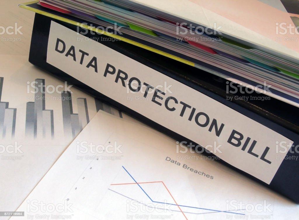 Data Protection Bill Folder on Desk stock photo