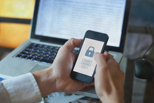 data protection concept, cyber security, secured access with password on screen of smartphone mobile