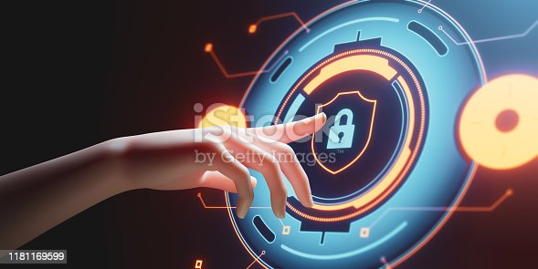 istock Data protection Cyber Security Privacy Business with Woman hand pointing with UI 1181169599