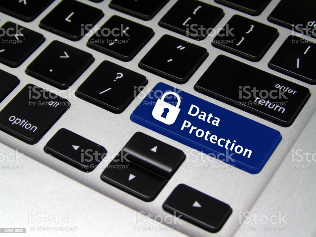 Data Protection Laptop Button on Keyboard stock photo