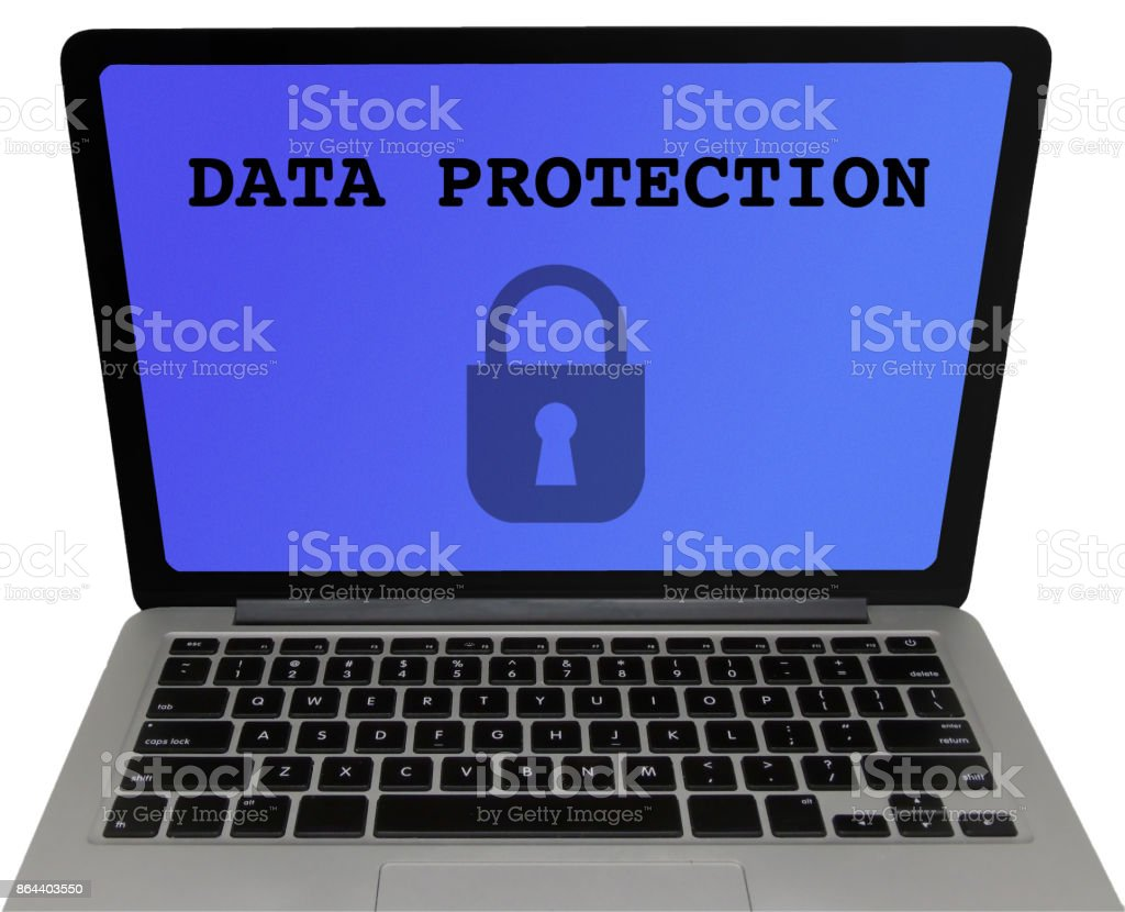 Data Protection Laptop Screen, Isolated on White Background stock photo
