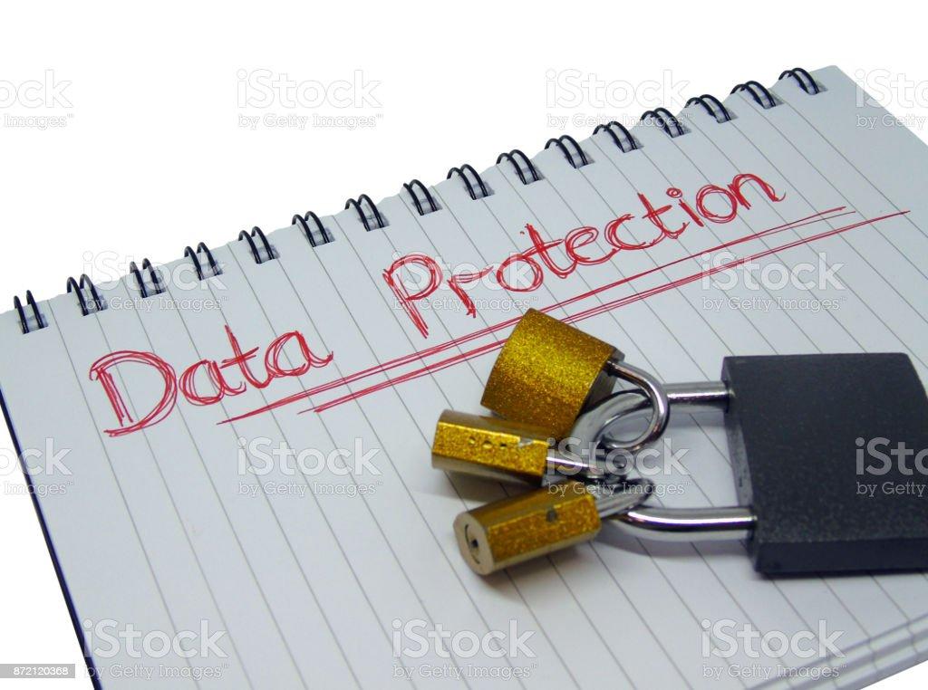 Data Protection Notepad with Padlocks stock photo