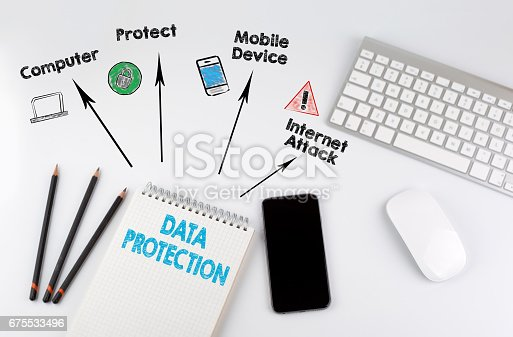 488497362istockphoto Data Protection. Office desk table with computer, Smartphone, note pad, pencils 675533496