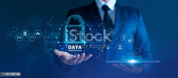 Data protection privacy concept. GDPR. EU. Cyber security network. Business man protecting data personal information on tablet and virtual interface. Padlock icon and internet technology networking connection on digital