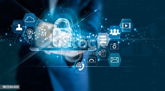 istock Data protection privacy concept. GDPR. EU. Cyber security network. Business man protecting data personal information on tablet. Padlock icon and internet technology networking connection on digital dark blue background. 962094400