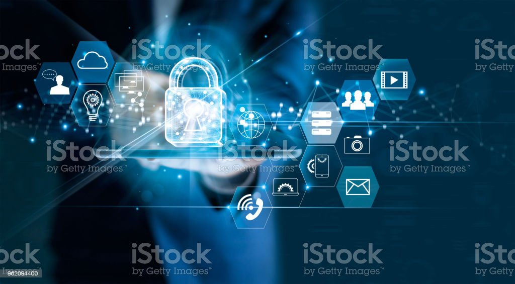 Data protection privacy concept. GDPR. EU. Cyber security network. Business man protecting data personal information on tablet. Padlock icon and internet technology networking connection on digital dark blue background. stock photo