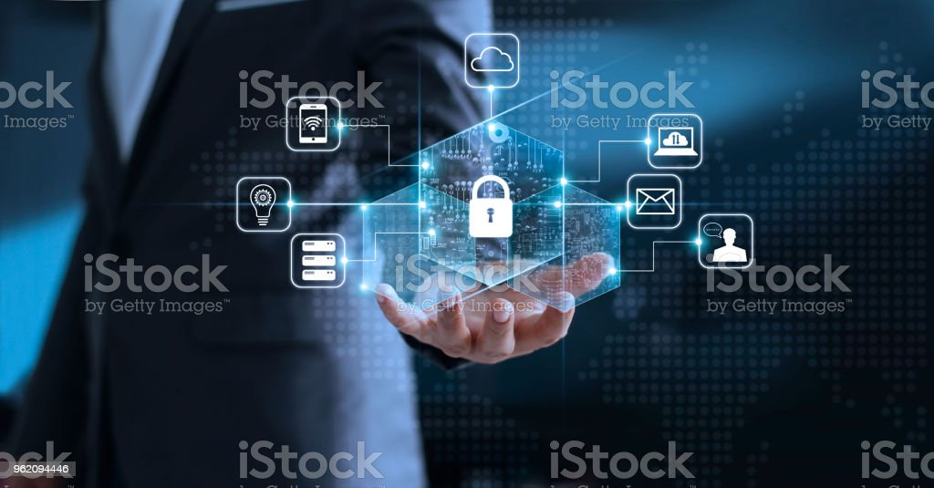 Data protection privacy concept. GDPR. EU. Cyber security network. Business man protecting his data personal information. Padlock icon and internet technology networking connection on virtual interface blue background. stock photo