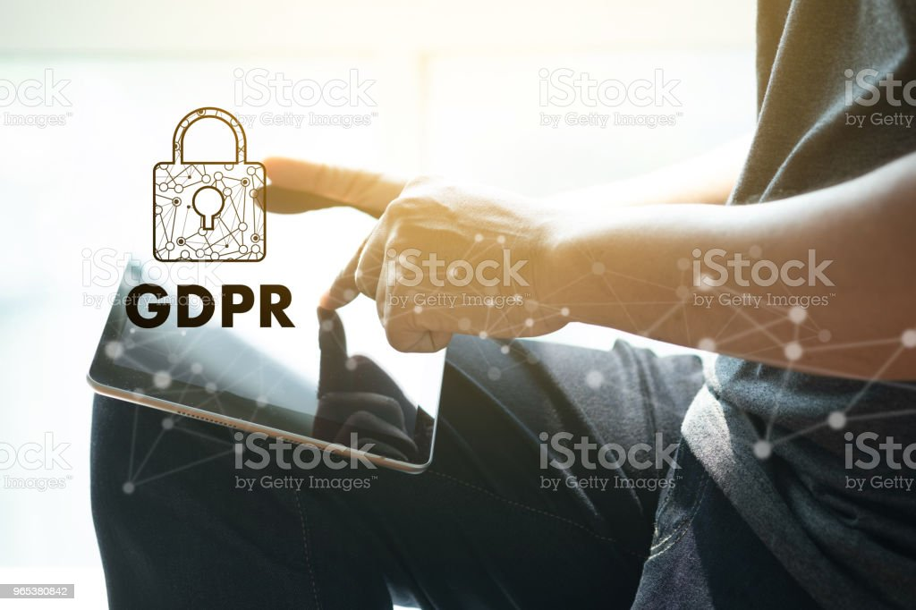 GDPR. Data Protection Regulation IT technologist Data Security system Shield Protection royalty-free stock photo