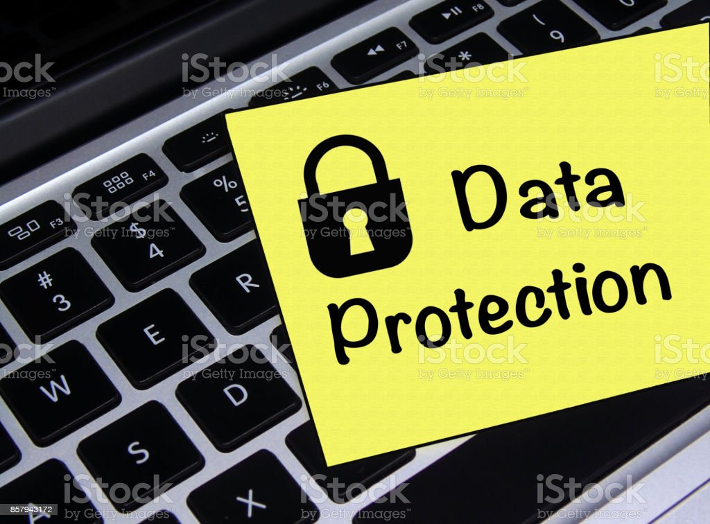 Data Protection Sticky Note stock photo