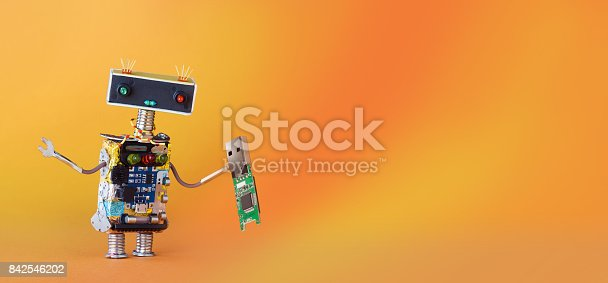 istock Data recovery backup service robot with usb flash storage stick. orange yellow gradient background, copy space 842546202