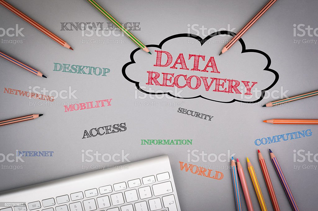 Data Recovery word cloud stock photo