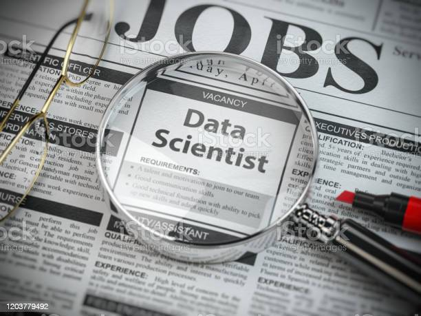 Data scientist vacancy in the ad of job search newspaper with loupe picture id1203779492?b=1&k=6&m=1203779492&s=612x612&h=gaoxkehvdukogaers6utk6yw6l95uy65nextn ih8x8=