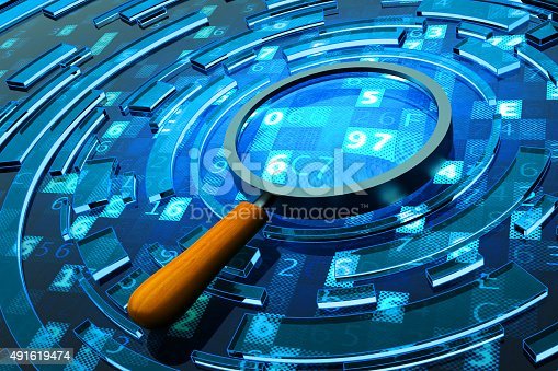 Magnifying glass on blue background with digital code
