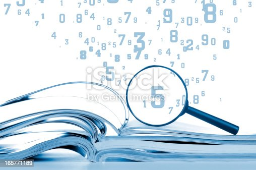 Data searching with opened magazines, magnifier and flying scattered numbers, digits. Isolated on white,  studio shot.