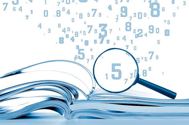 Data searching, opened notebooks with magnifier and flying numbers, isolated stock photo
