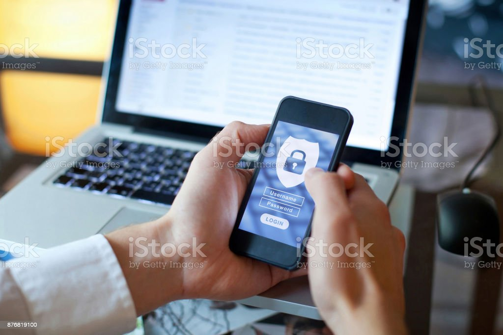 data security concept, login and password stock photo