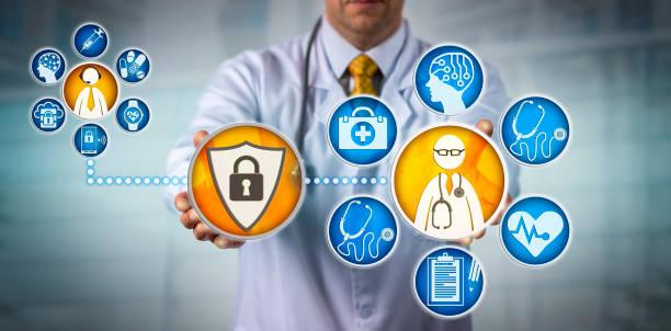 Data Security For Doctor Providing Telemedicine stock photo