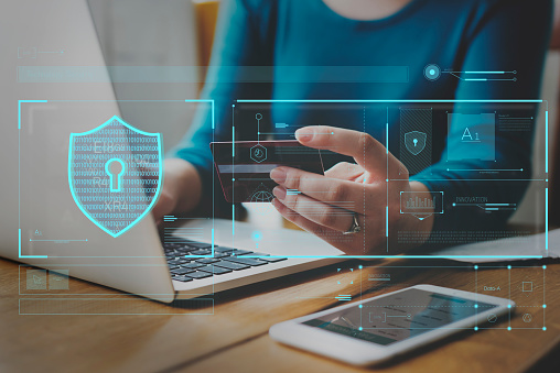 Data Security System Shield Protection Verification Stock Photo - Download Image Now