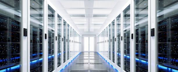 data server rack center. backup cloud service. - datacenter stockfoto's en -beelden