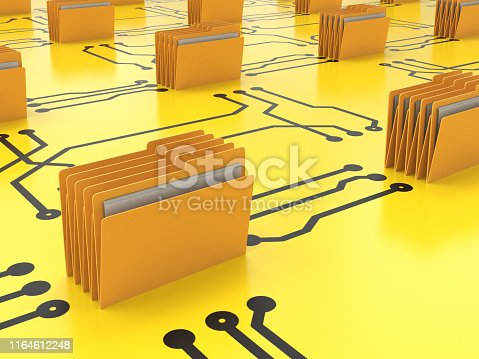 Data storage archive concept with 3d rendering folder connect on circuit board