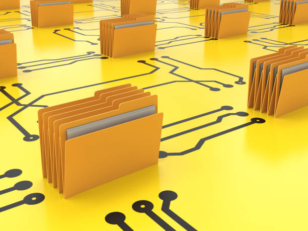 Data storage archive concept Data storage archive concept with 3d rendering folder connect on circuit board ring binder stock pictures, royalty-free photos & images