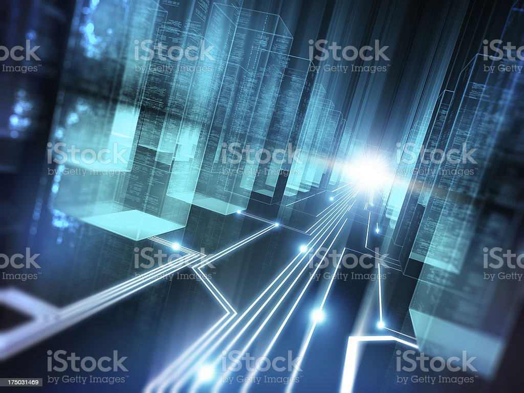 Data storage concept in blue virtual corridor stock photo