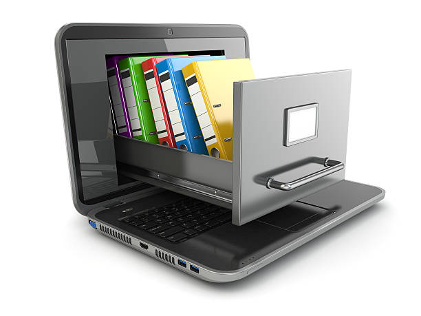 Data storage. Laptop and file cabinet with ring binders. Data storage. Laptop and file cabinet with ring binders. 3d telephone directory stock pictures, royalty-free photos & images