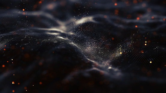Data technology abstract futuristic illustration . Low poly shape with connecting dots and lines on dark background. 3D rendering .