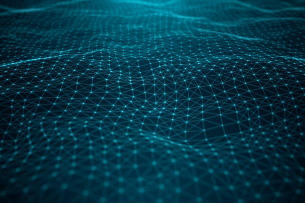 データ技術、抽象的なグローバルネットワーク。グローバル接続、ネットワーク接続のドットと青の背景に線。ラインで接続されたポイントからなるビッグデータの転送, 3d イラスト - ます目 ストックフォトと画像