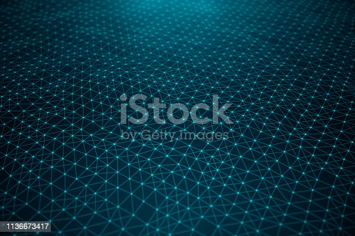 1162932025 istock photo Data technology, abstract global network. Global connecting, network connection dots and lines on blue background. Transfer of big data consisting of connected points with lines, 3D illustration 1136673417