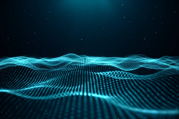 Data technology, abstract global network. Wave of particles. Abstract background, wavy surface consisting of points - big data, 3D illustration stock photo