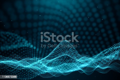 1162932025 istock photo Data technology, abstract global network. Wave of particles. Abstract background, wavy surface consisting of points - big data, 3D illustration 1136673388