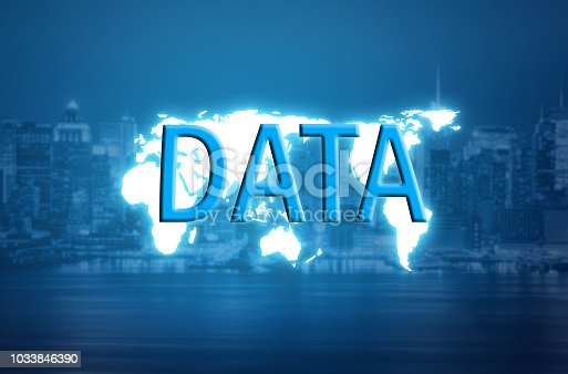 istock Data text on world map and blurred city background 1033846390
