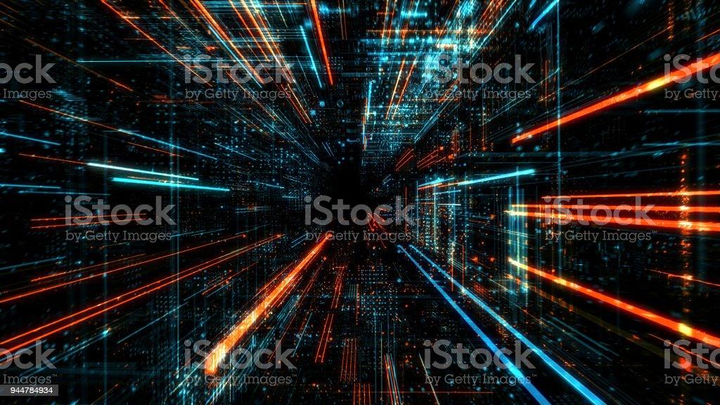 データ転送と将来技術、サイバー セキュリティ概念の背景、抽象的なこんにちは速度デジタル インターネット。 ストックフォト