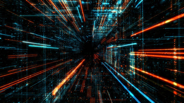 Data transfer and future technology, cyber security concept background, abstract hi speed digital internet. Motion blur. Abstract technology and cyber space environment 3D render computer equipment stock pictures, royalty-free photos & images