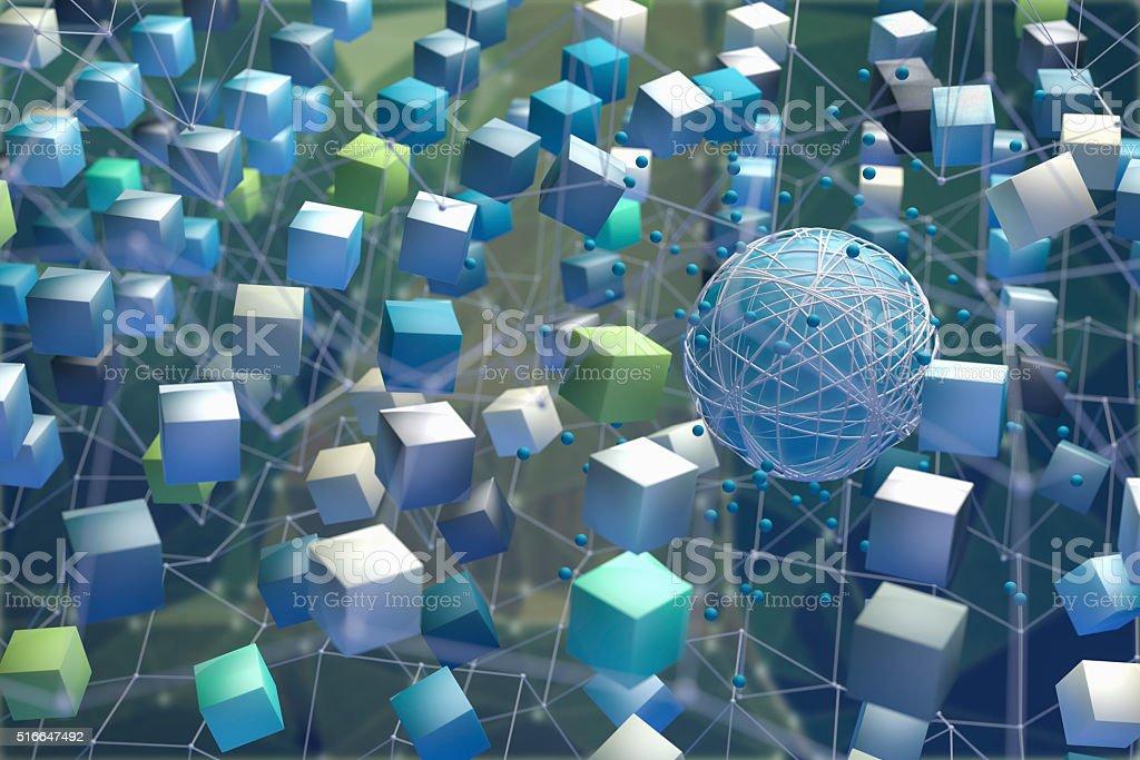 Data travel, abstract network imagination stock photo