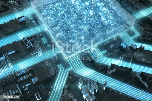 Stream of light moving on a mother board. Futuristic technological concept
