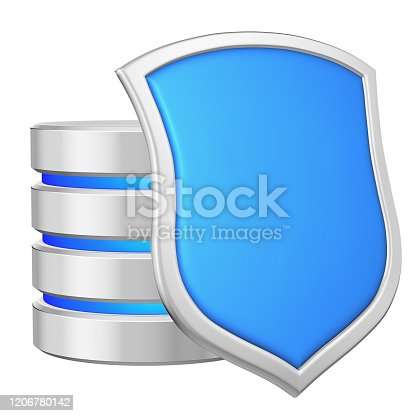 Database behind metal blue shield on right protected from unauthorized access, data protection concept, 3d illustration icon isolated on white background for Data Protection Day.