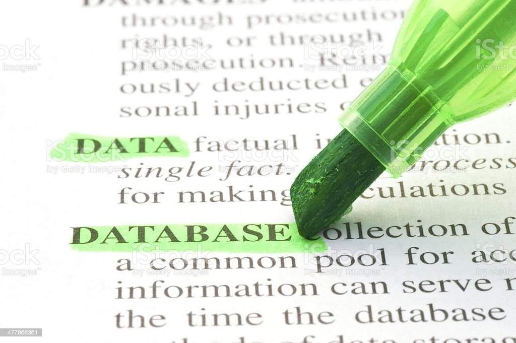 database definition highligted in dictionary royalty-free stock photo