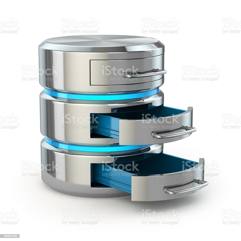 Database storage concept. Hard disk icon isolated on white. stock photo